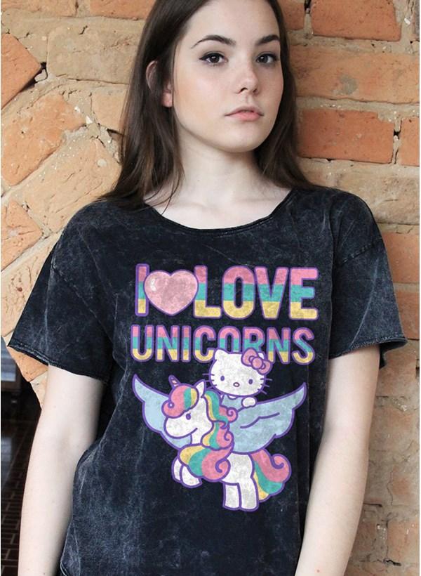 Blusa Hello Kitty I Love Unicorns