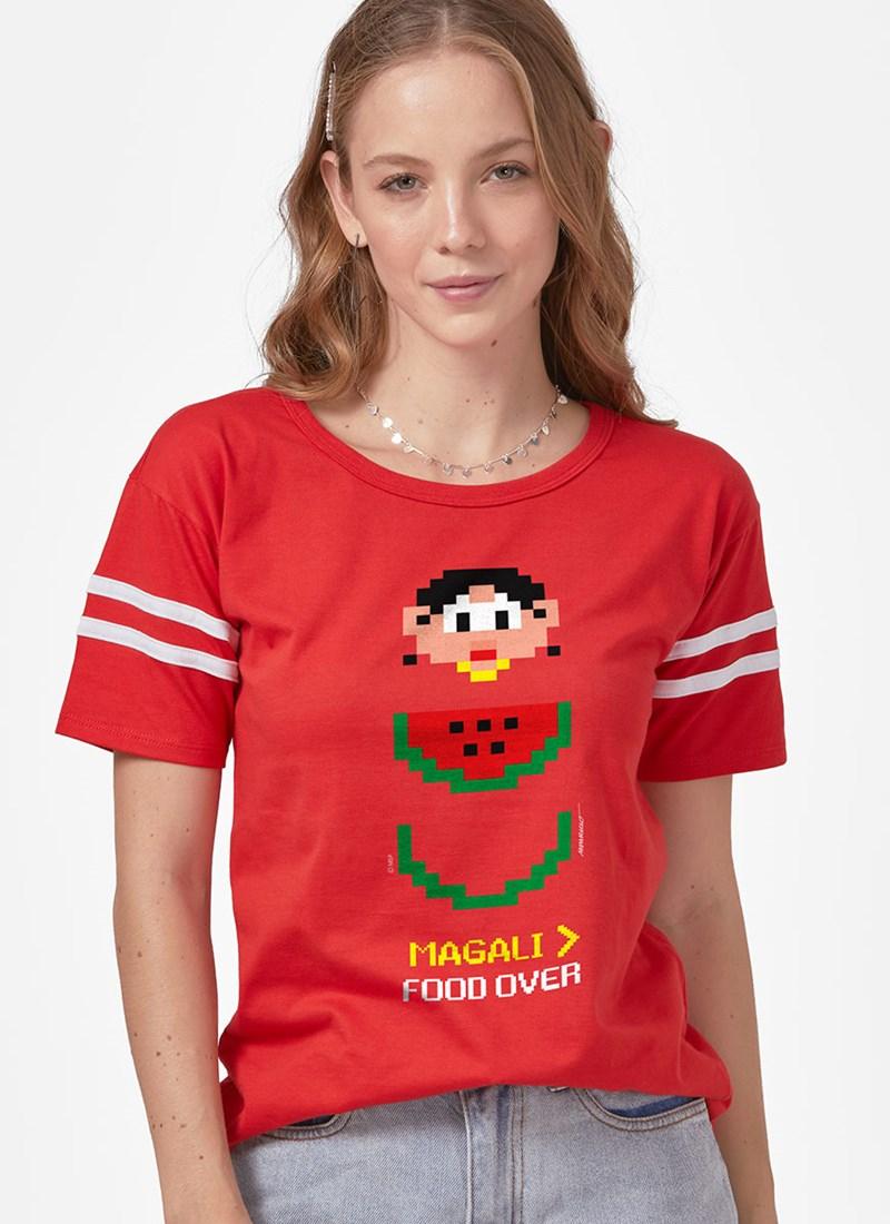 Camiseta Athletic Turma da Mônica Magali Food Over