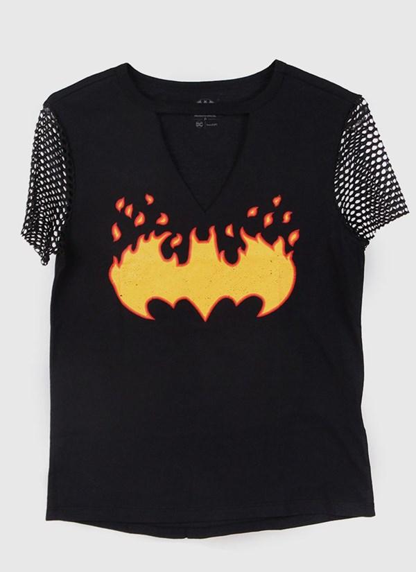 Camiseta Batgirl Logo Fire Feminina