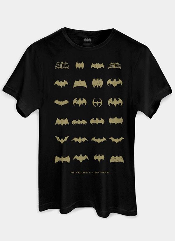 Camiseta Batman 75 Anos Logos Collection