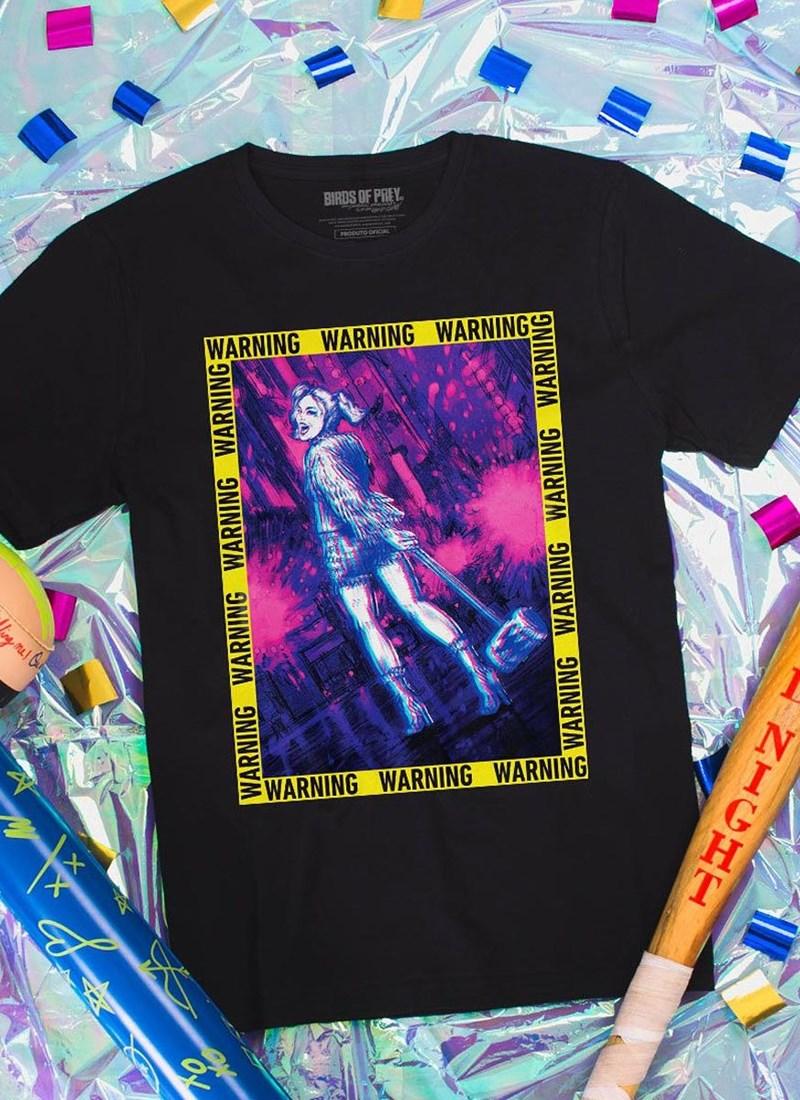 Camiseta Birds of Prey Harley Quinn Warning - Aves de Rapina