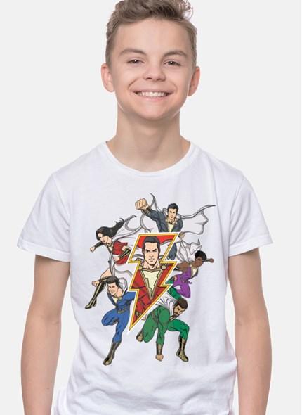 Camiseta Branca Shazam Família