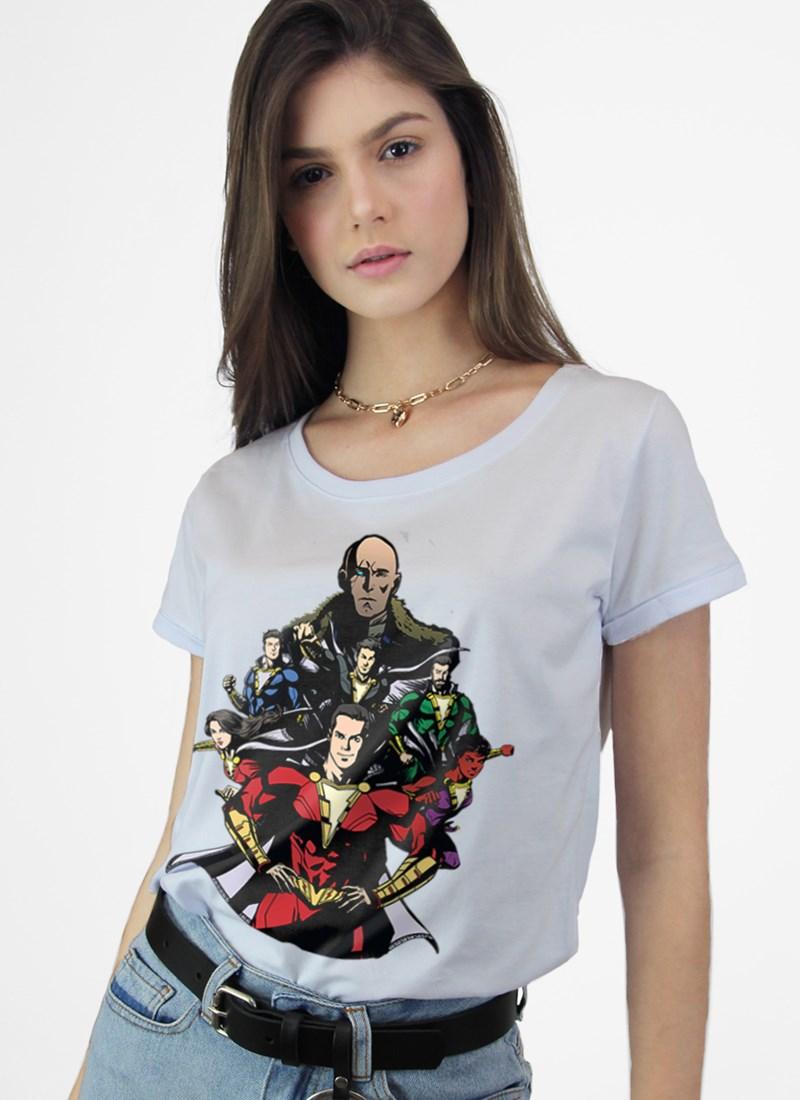 Camiseta Branca Shazam VS Doctor Sivana