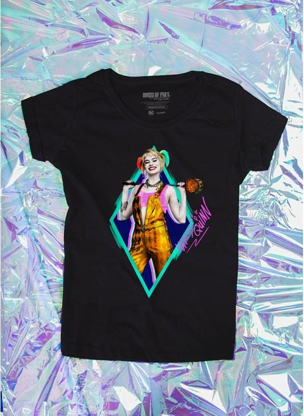 Camiseta Feminina Birds of Prey Harley Quinn Sorriso - Aves de Rapina