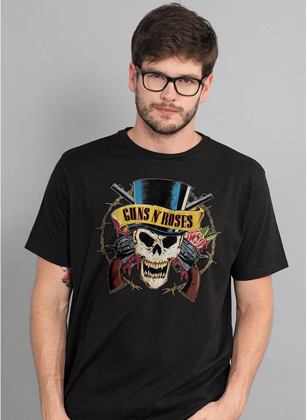 Camiseta Guns n' Roses Logo Skull