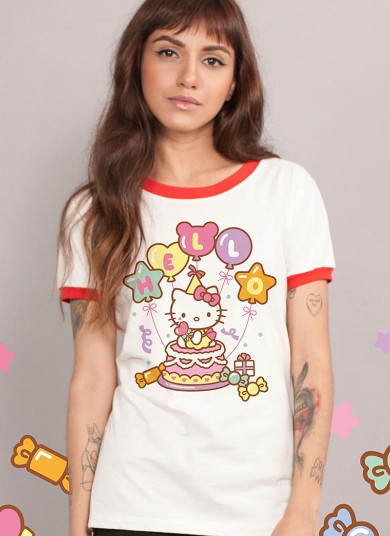 Camiseta Hello Kitty Birthday Balloons