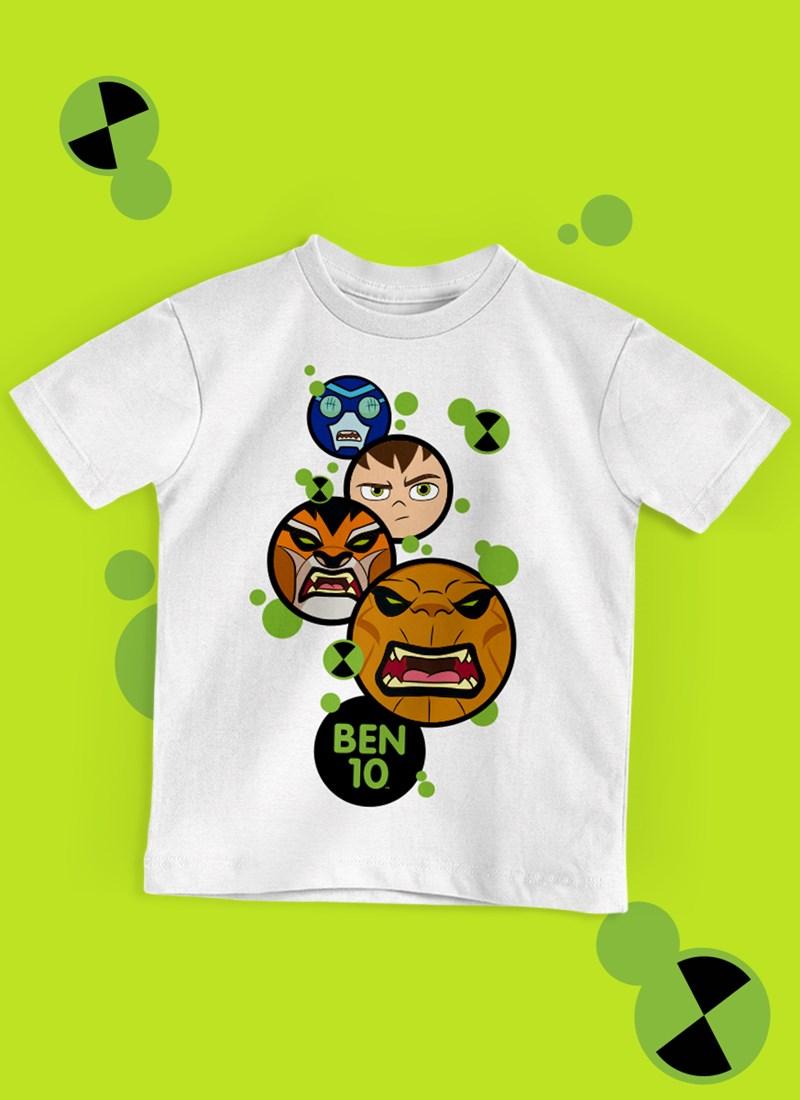 Camiseta Infantil Ben 10 Aliens Face