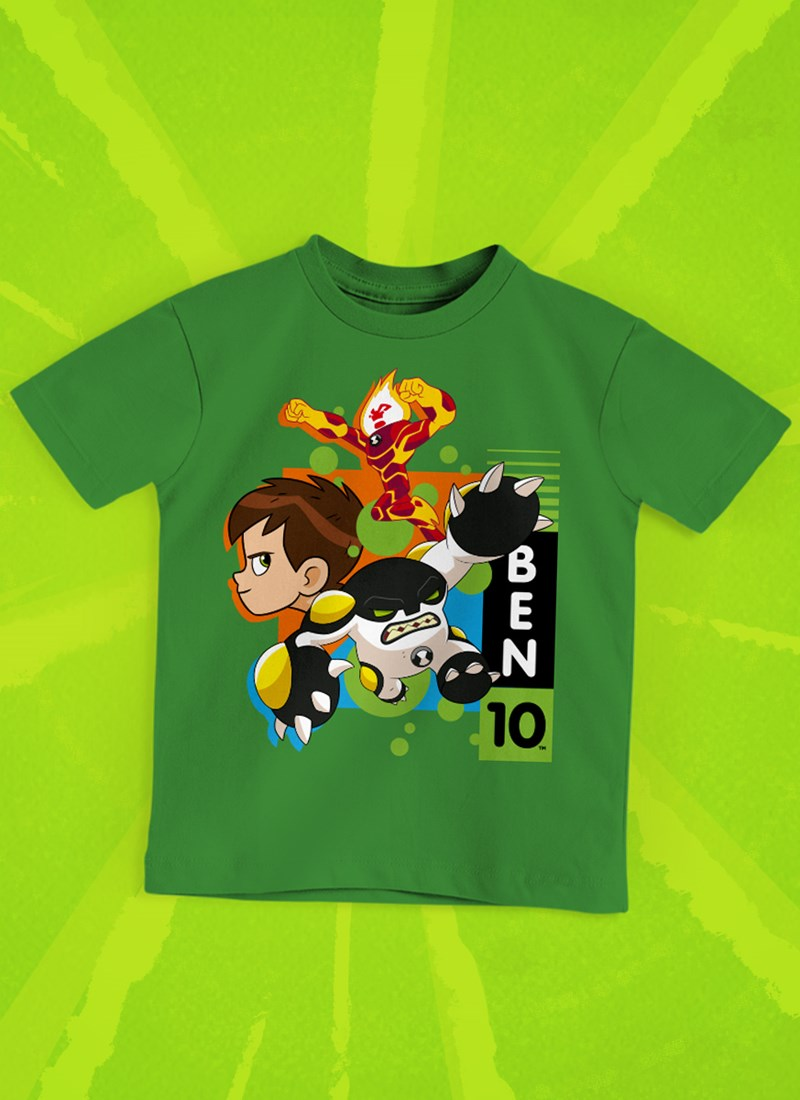 Camiseta Infantil Ben 10 Chama e Bala de Canhão