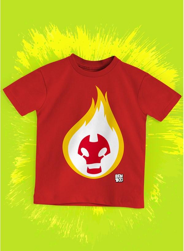 Camiseta Infantil Ben 10 Chama Face