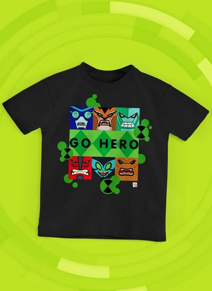 Camiseta Infantil Ben 10 Go Hero Ícones