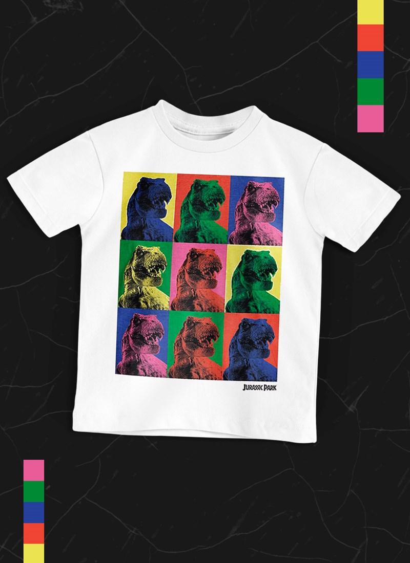 Camiseta Infantil Jurassic Park T.Rex Pop Art