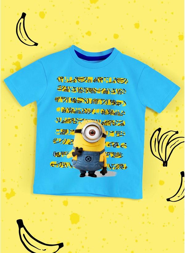 Camiseta Infantil Minions Listras de Bananas