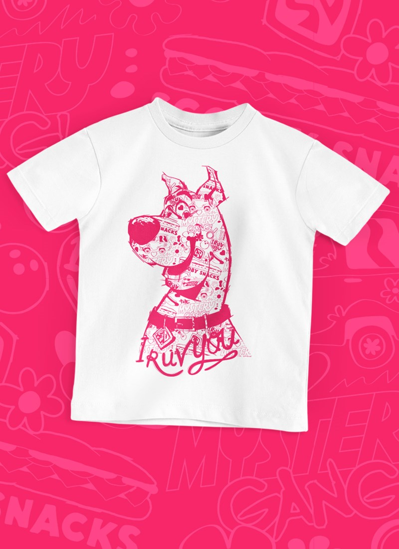 Camiseta Infantil Scooby! I Ruv You Pink