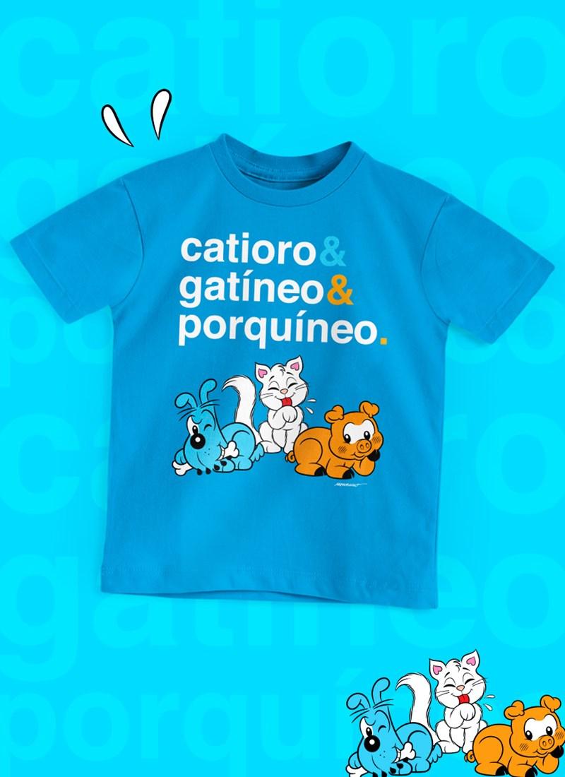 Camiseta Infantil Turma da Mônica Catioro & Gatíneo & Porquíneo