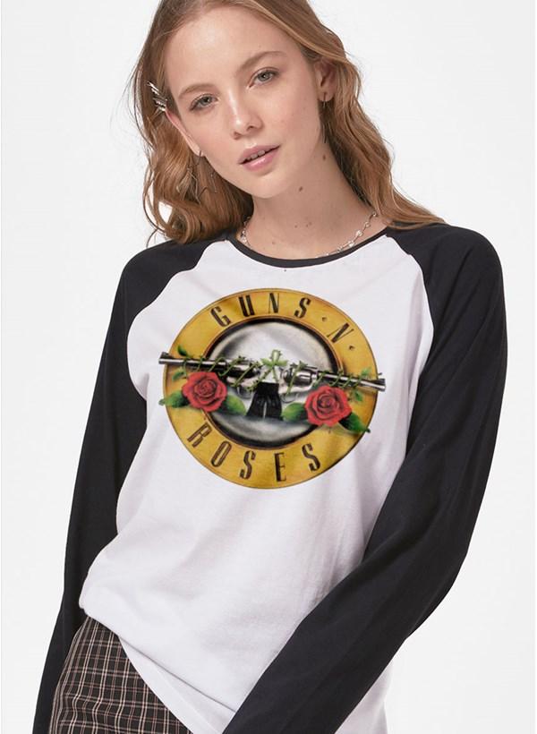 Camiseta Manga Longa Guns N' Roses Logo Bullet
