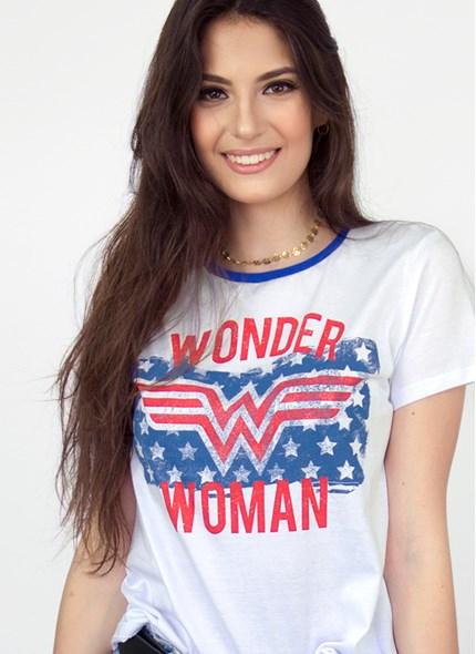Camiseta Mulher Maravilha Flag Stars