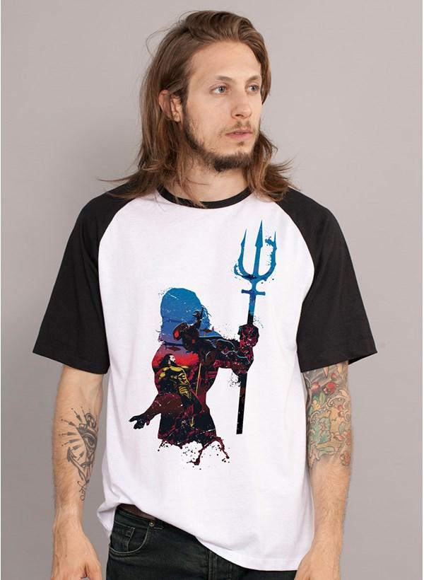 Camiseta Raglan Aquaman Silhouette