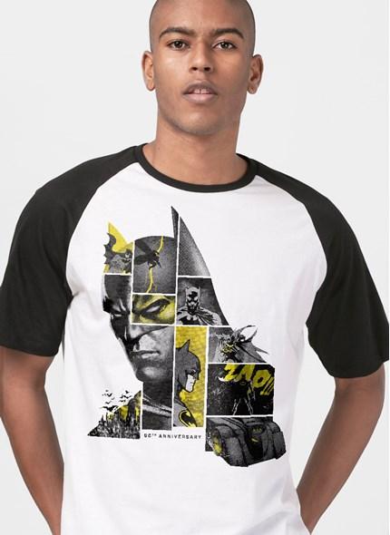 Camiseta Raglan Batman 80 Anos As Faces de Batman