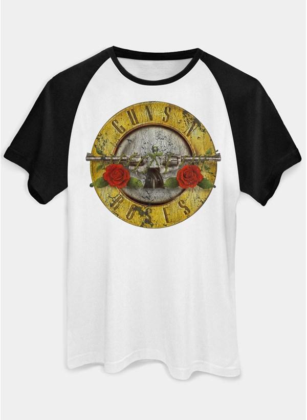 Camiseta Raglan Guns N' Roses Logo Bullet