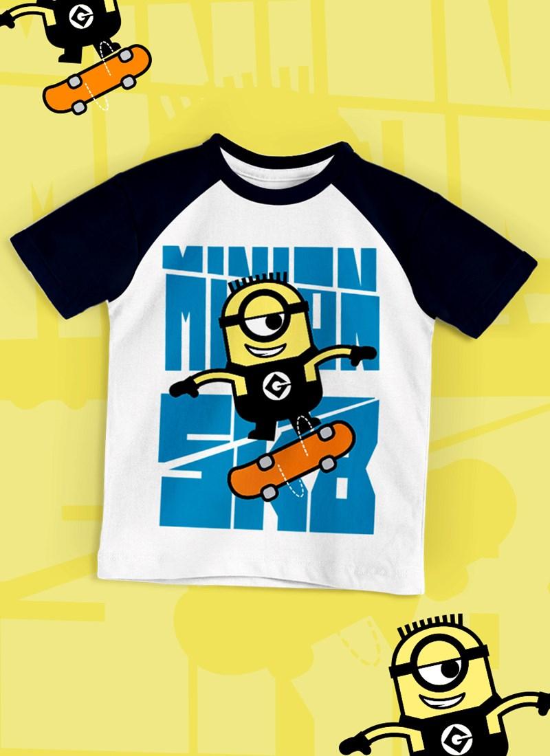 Camiseta Raglan Infantil Minions SK8