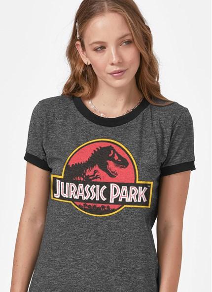 Camiseta Ringer Jurassic Park Logo
