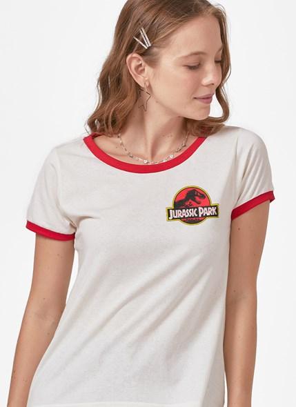 Camiseta Ringer Jurassic Park Logo Mini