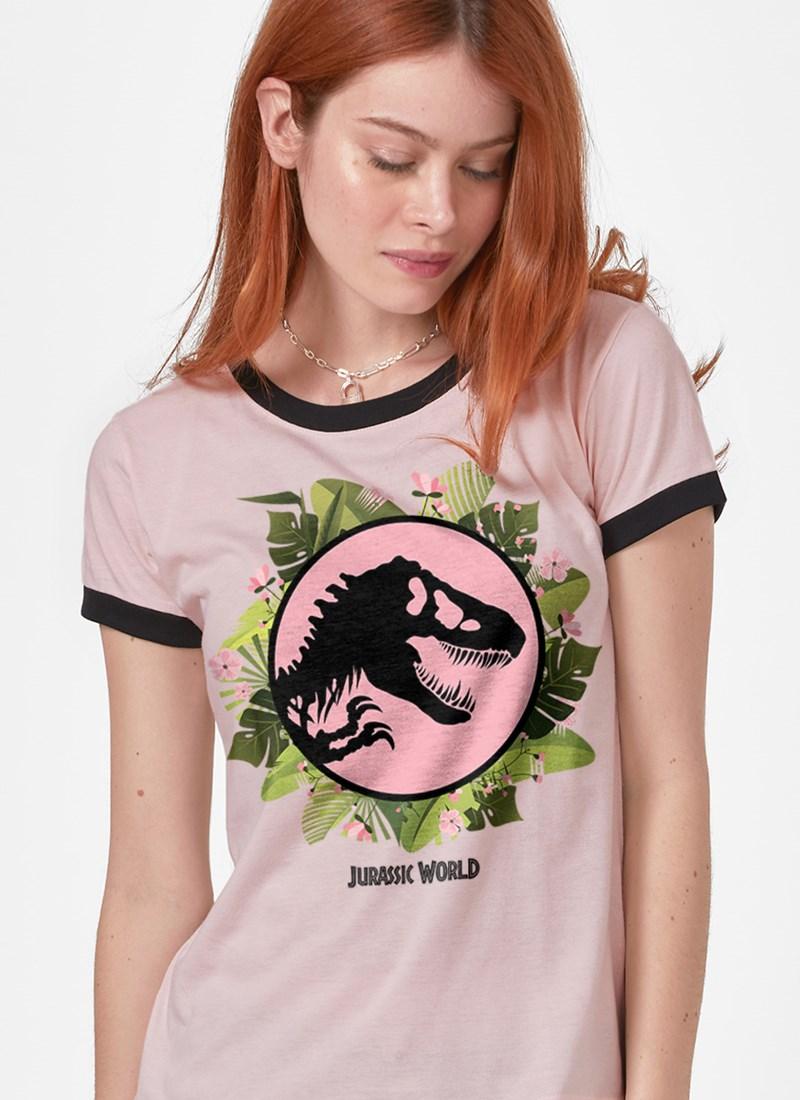 Camiseta Ringer Jurassic World Logo Floral