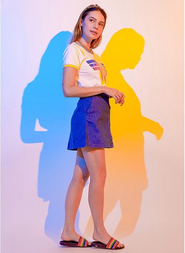 Camiseta Ringer Mulher Maravilha 1984 Logo Colorido