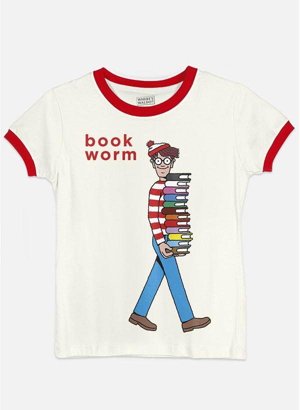Camiseta Ringer Onde está Wally? Book Worm