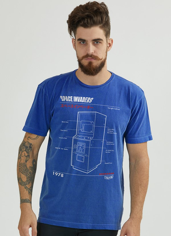 Camiseta Space Invaders Upright Cabinet Blue