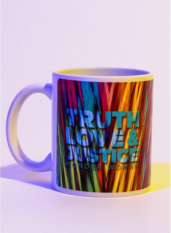 Caneca Mulher Maravilha 1984 Truth Love e Justice Rosto