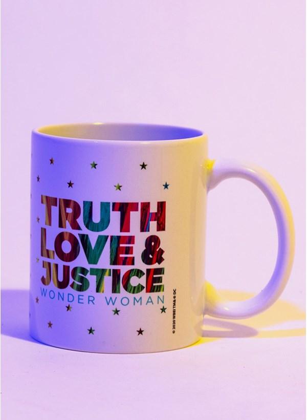 Caneca Mulher Maravilha 1984 Truth Love e Justice Stars