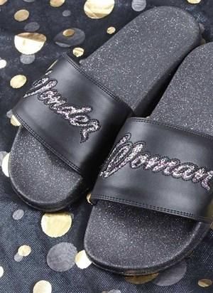 Chinelo Slide Mulher Maravilha Glitter
