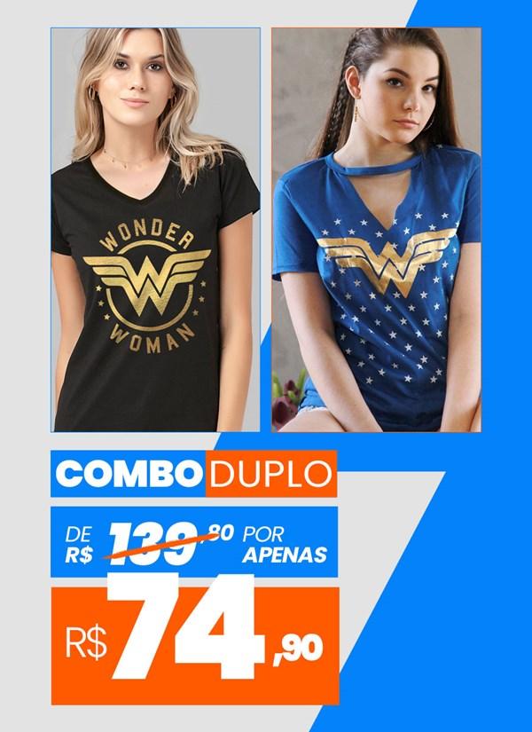 Combo 2 Camisetas Femininas Wonder Woman BF