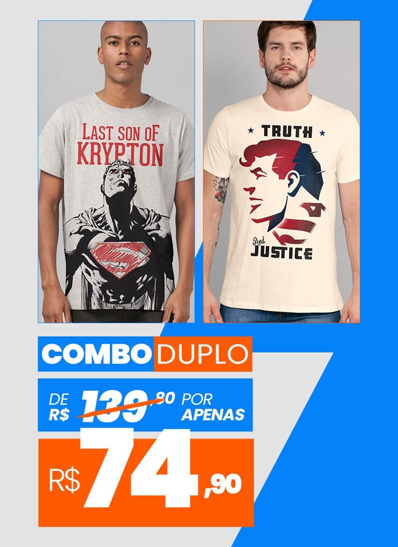 Combo 2 Camisetas Masculinas Superman BF