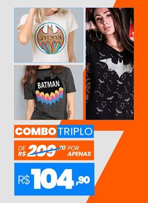 Combo 3 Camisetas Femininas Batman BF