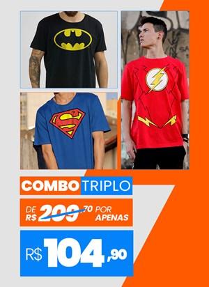 Combo 3 Camisetas Masculinas Heróis BF