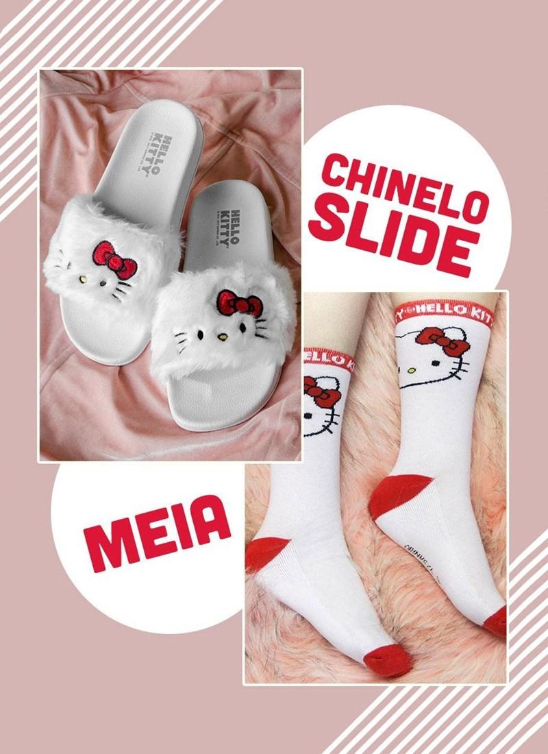 Combo Hello Kitty Fofura Chinelo Slide + Meia