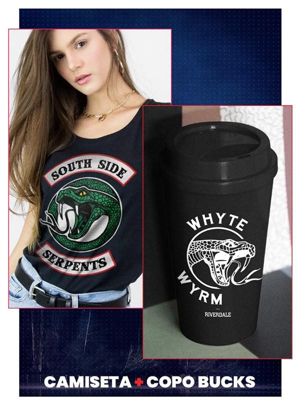 Combo Riverdale south Side Serpents Feminino Camiseta + Copo