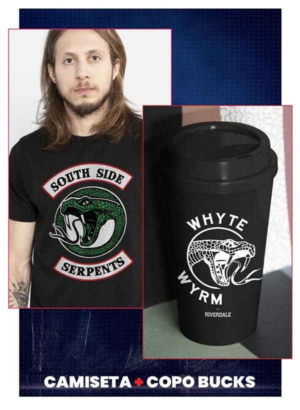 Combo Riverdale south Side Serpents Masculino Camiseta + Copo
