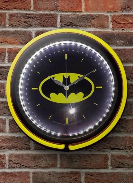 Relógio de Parede Double Neon em Vidro Batman Logo