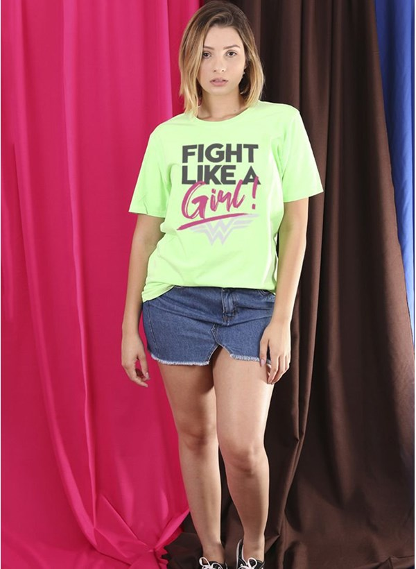 T-Shirt Mulher Maravilha Fight Like A Girl