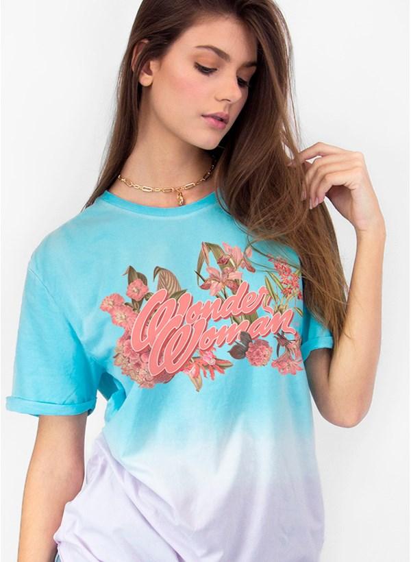 T-shirt Mulher Maravilha Flores Feminina