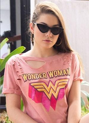 T-shirt Mulher Maravilha Logo Pink