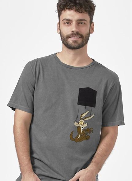 T-shirt Premim Looney Tunes Coyote Caindo